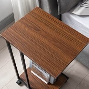 JJS Side End C Table for Sofa  living Room Couch Table Snack Table That Slide Under for Small Spaces  Rustic Brown