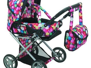 Mommy   Me 5 in 1 Deluxe Doll Pram Foldable Doll Stroller with Carrier  Adjustable Handle  Basket  and Carriage Bag  Gumball