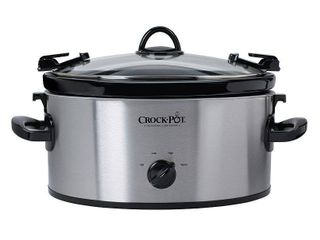 Crock Pot Cook  N Carry 6 Quart Oval Manual Portable Stainless Steel Slow Cooker