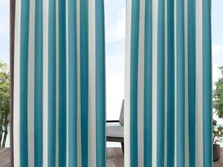 108 x54  Canopy Striped Grommet Top light Filtering Window Curtain Panel Teal White   Exclusive Home  One Panel