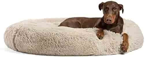 Best Friends by Sheri The Original Calming Donut Cat and Dog Bed in Shag Fur  for pets up to 150 pounds  Machine Washable   Extra large 45  x 45