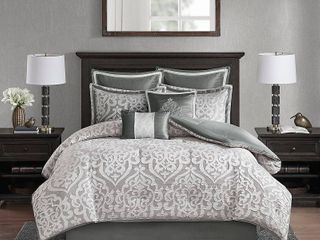 8pc King Eliot Jacquard Comforter Set Silver