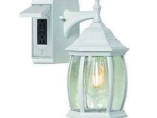 Addington Park Grace Collection 1 light Traditional Outdoor Wall Sconce with Seeded Glass and 2 Built In Outlets  White Finish