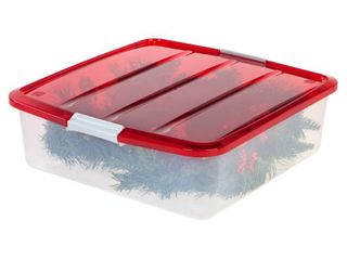 IRIS USA  20 Inch Wreath Storage Box  3 Pack  Red Clear