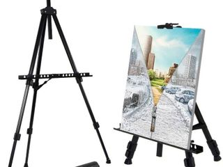T Sign 66  Reinforced Artist Easel Stand  Extra Thick Aluminum Metal Tripod Display Easel 21  to 66  Adjustable Height with Portable Bag  One easel