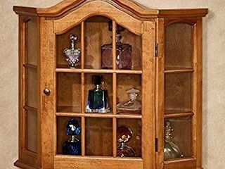 Ayden Wooden Wall Curio Cabinet Windsor Oak One Size   Mounted Decor   No Assembly Required   Windsor Display Oak Finish  Glass Inserts  Hanging Collectable Display   21 Inches Wide by 21 Inches High
