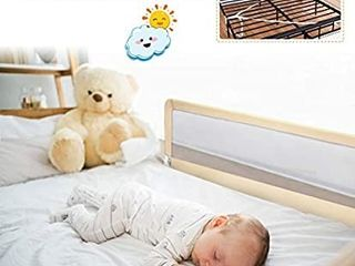 BABY JOY Bed Rails for Toddlers  59  Extra long  Swing Down Bed Guard w Safety Strap for Convertible Crib  Folding Baby Bedrail for Kids Twin  Double  Full Size Queen   King Mattress  59 Inch  Beige