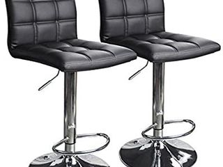 Modern Square Pu leather Adjustable Bar Stools With Back  Counter Height  Black