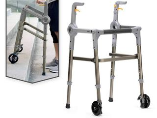 Roami Progressive Mobility Aid Walker with 2 Wheels  Rollator  Self Adjusting Stair Assist  Go Up   Down Stairs  Ramps    Steps  Mobility Aid for Adults or Seniors  Folding   Adjustable  Charcoal Gray