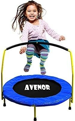 Toddler Trampoline With Handle   36  Kids Trampoline With Handle   Mini Trampoline w  Sturdy Frame  Coil Spring  Safety Padded Cover