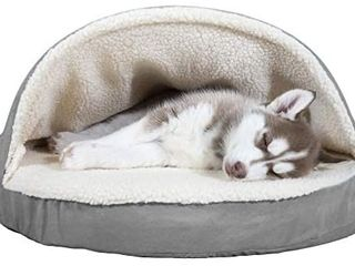 Furhaven Pet   Plush Ergonomic Orthopedic Foam Mattress Dog Bed  Round Snuggery Hooded Dog Bed  and ThermaNAP Self Warming Quilted Cat Bed Pad for Dogs and Cats   26