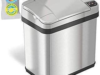 iTouchless 2 5 Gallon Sensor Garbage Can with Odor Filter and Fragrance  Touchless Automatic Trash Bin  Perfect for Bathroom and Office  2 Gallon Stainless Steel