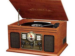 Innovative Technology VTA 200B MH Victrola Nostalgic Classic Wood 6 in 1 Bluetooth Turntable Entertainment Center  Mahogany