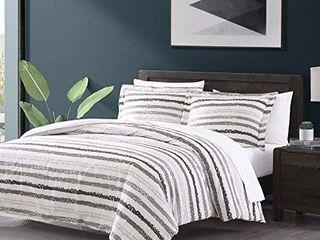 Brielle Porter Grey Striped 3 Piece Comforter Set   King California King