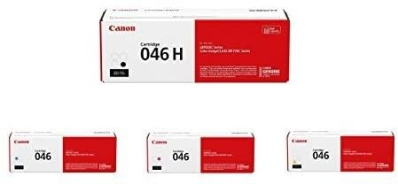 Canon 046 Toner Cartridge Set   High Yield Black and Standard Yield Cyan  Magenta and Yellow   1247C001  1248C001  1249C001  1254C001