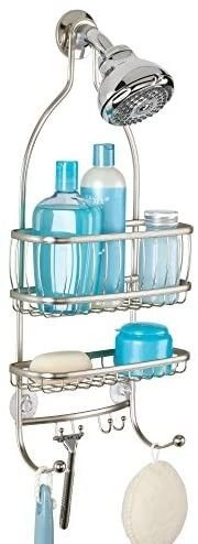 iDesign York Metal Wire Hanging Shower Caddy  Extra Wide Space for Shampoo  Conditioner  and Soap with Hooks for Razors  Towels  and More  10  x 4  x 22  Satin Silver