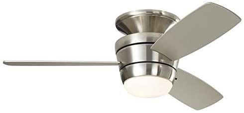 Mazon 44 in Brushed Nickel Flush Mount Indoor Ceiling Fan nib free Shipping