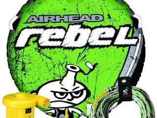 Airhead Rebel 54 Inch 1 Person Durable Red Towable Tube Kit w Rope and 12V Pump