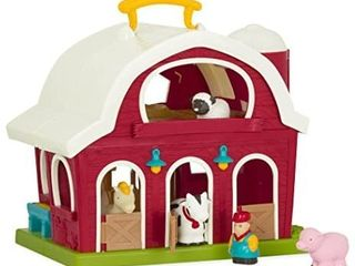 Battat a Big Red Barn a Animal Farm Playset for Toddlers 18M   6Piece  Dark Red  13 5  large x 9  W x 12  H