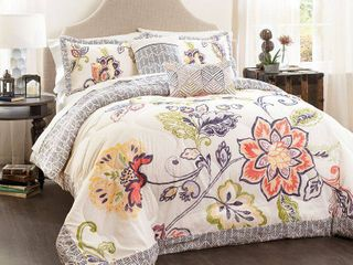 lush DAccor Aster Quilted Comforter Coral Navy 5Pc Set King