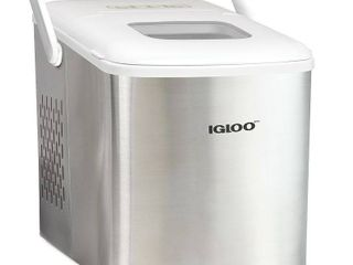 Igloo ICEB26HNSSWl 26 Pound Automatic Self Cleaning Portable Countertop Ice Maker Machine With Handle  Stainless Steel   White