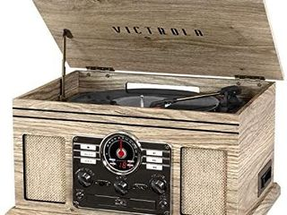 Victrola Nostalgic 6 in 1 Bluetooth Record Player   Multimedia Center with Built in Speakers   3 Speed Turntable  CD   Cassette Player  AM FM Radio   Wireless Music Streaming   Farmhouse Oatmeal