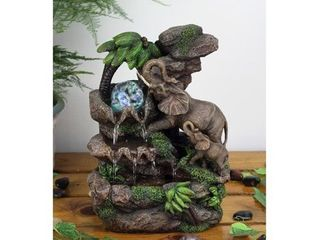 OK lighting Resin Fibreglass Elephant Table Fountain with lED light