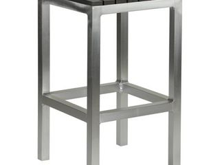 Cortesi Home Haven Aluminum Outdoor Backless Counter Stool in Slate Grey Poly Wood in Brushed Aluminium  14x14x