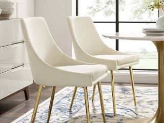 Gold Ivory  Silver Orchid Aizome Dining Chairs  Set of 2  Retail 239 49