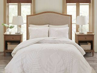 Madison Park Bahari Full Queen 3 Pc  Tufted Cotton Chenille Palm Comforter Set Bedding