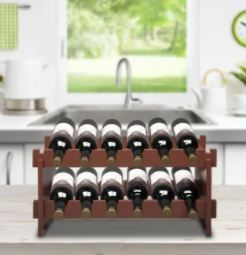 2 Tier Stackable Wine Rack  Holds 12 Bottles  Classic Style Wine Racks