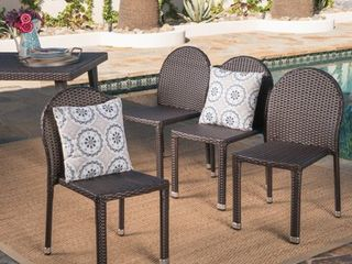 Aurora Outdoor Wicker Aluminum Stacking Chair  Set of 4  by Christopher Knight Home  Retail 406 99