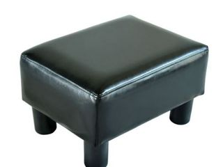 Porch   Den Meadow Modern Small Black Faux leather Ottoman   Footrest Stool 12Dx16W
