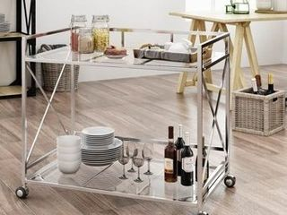 Iron   Silver  Ignatius Industrial Modern Glass Bar Cart by Christopher Knight Home  Retail 179 99