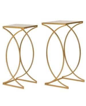 Glitzhome Metal W Glass Gold Accent Table Set of 2  Retail 107 99