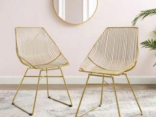 Corvus Sonne Slat Back Gold Dining Side Chair  Set of 2  Retail 278 49