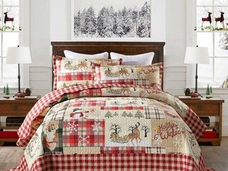 MarCielo 3 Piece Christmas Rustic lodge King Size Deer Quilted Bedspread Quilt