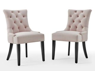 Regent Tufted Performance Velvet Dining Side Chairs   Set of 2 in Pink