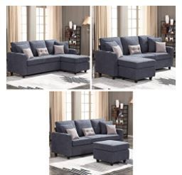 Honbay Converstible Sectional Couch With Chase Ottoman  Slight Mismatch In Colors of Cushions And Sections
