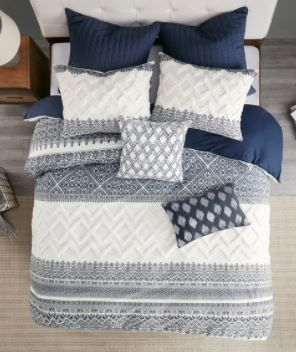 The Curated Nomad Natoma Navy Cotton Chenille Printed King Cal King Duvet Cover Set  Retail 116 99