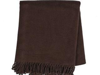 Evora Solid Color Fringe Blanket Throw  Retail 86 49