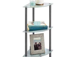 mDesign Home Floor Storage Corner Tower  3 Tier Open Glass Shelves   Compact Shelving Display Unit   Multi Use Home Organizer for Bath  Office  Bedroom  living Room   Graphite Gray Gray NOT INSPECTED