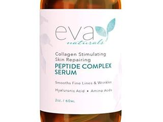 Peptide Complex Serum by Eva Naturals  2 oz    Best Anti Aging Face Serum Reduces Wrinkles and Boosts Collagen   Heals and Repairs Skin while Improving Tone and Texture   Hyaluronic Acid