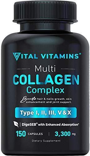 Vital Vitamins Multi Collagen Complex   Type I  II  III  V  X  Grass Fed  Non GMO  150 Capsules