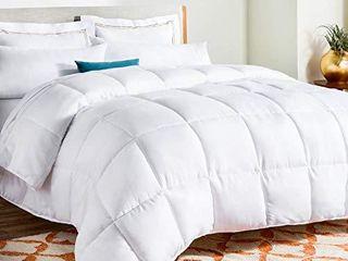 linenspa All Season White Down Alternative Quilted Comforter   Corner Duvet Tabs   Hypoallergenic   Plush Microfiber Fill   Machine Washable   Duvet Insert or Stand Alone Comforter   Queen
