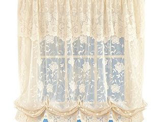Collections Floral Sheer lace Tie up Balloon Shade Window Curtain with Scalloped Edges and Rod Pocket Top for Easy Hanging  White