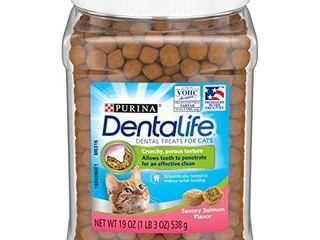Purina Dentalife Made in USA Facilities Cat Dental Treats  Savory Salmon Flavor   19 oz  Canister