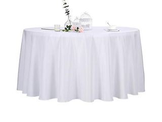 2pack 120 Inch White Round Tablecloth in Polyester Fabric for Wedding Banquet Restaurant Parties NOT FUllY INSPECTED