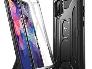 YOUMAKER Kickstand Designed for Samsung Galaxy Note 10 Plus Case  Built in Screen Protector Work with Fingerprint ID Full Body Heavy Duty Shockproof Cover for Galaxy Note 10 Plus 5G 6 8 Inch   Black
