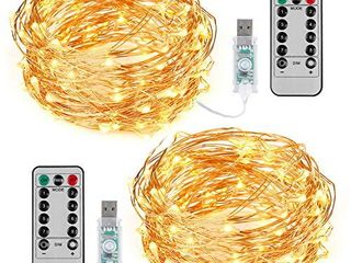 TingMiao 2 Pack 33ft 100 lED Copper Wire String lights Fairy String lights 8 Modes lED String lights USB Powered with Remote Control for Wedding Party Home Christmas Decoration  Warm White